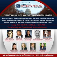 Taking place tomorrow, this panel will discuss #Diversity & #LawSchool Admissions/Financing, at #DiversityPreLawConf