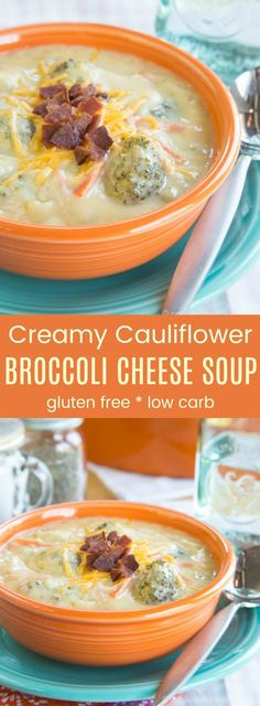 Lower Excess Fat Rooster Recipes That Basically Prime Cauliflower Broccoli Cheese Soup - Just As Creamy And Cheesy As A Classic Broccoli Cheddar Soup Recipe But More Veggies Make It More Healthy Gluten Free And Low Carb Too. Cauliflower And Broccoli Cheese, Creamy Cauliflower, Broccoli Cheddar, Broccoli Cauliflower Cheese Soup Recipe, Broc Cheese Soup, Broccoli Soup, Broccoli Casserole, Casserole Recipes, Healthy Hearty Soup