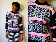 Vtg Retro Winter Print B Pink Knitted Sweater by LuluTresors, $29.99