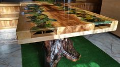 Table coffee wood and epoxy resin