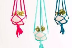 Make this easy macrame plant hanger with Lion Brand Fettuccini!