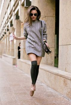 Light Gray Sweater Dress w/ thigh highs MINUS THOSE ATROCIOUS SHOES!