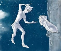 Jack Frost as Peter Pan, and Rapunzel as Wendy Darling