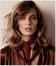 Daria for WSJ by Josh Olins. Gorgeous caramel colours and done-but-undone 70's hair.
