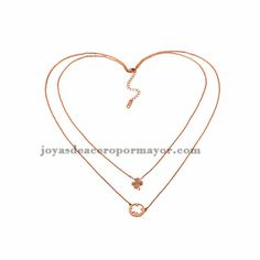 collar de dos capa de flores en oro rosado de acero inoxidable para mujer -SSNEG60720