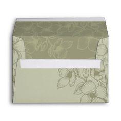 Modern Sage Green Floral Wedding Envelope Floral Wedding Envelopes, Custom Envelopes, Sage, Modern, Green, Home Decor, Trendy Tree, Decoration Home, Salvia