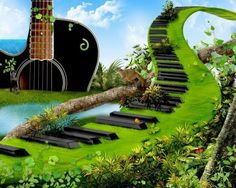 If I lived in a world like this, where you could actually strum the guitar, and play the piano when you walked on it, I would never want to leave. It wouldn't get old.