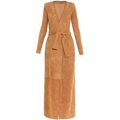 Balmain Suede self-tie coat ($3,702) ❤ liked on Polyvore featuring outerwear, coats, balmain, camel, tan coat, suede coat, collarless coat, balmain coat and beige coat