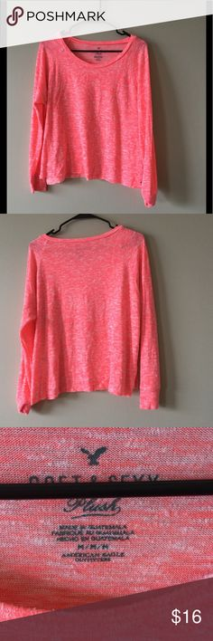 AE soft and sexy plush long sleeve Neon pink American eagle long sleeve, very soft and flowy. Size M, no major damage but some pulled threads on logo emblem at the bottom American Eagle Outfitters Tops Tees - Long Sleeve