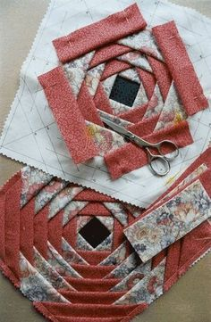 Foldy Stuff Quilt - be sure to check this out. this is how I made my first wall hanging. This is also known as a pineapple quilt block. Foldy Stuff Quilt - be sure to check this out. Her instructional video is great! This is amazing! If I could sew y Paper Piecing Patterns, Quilt Block Patterns, Quilt Blocks, Sewing Patterns, Quilting Tutorials, Quilting Projects, Quilting Designs, Quilting Tips, Machine Quilting