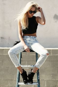 crop tank, body chain, acid washed denim