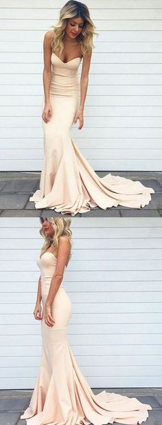 Charming Mermaid Sweetheart Long Blush Pink Prom/Bridesmaid Dresses With Sweep Train #LongPromDress #StraplessPromDress #BlushBridesmaidDresses #MermaidPromDress #SimplePromDress