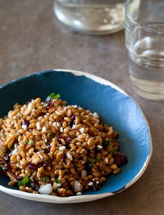 Light & fresh Wheatberry Salad with delicious white balsamic vinaigrette, cranberries, pecans and feta (vegetarian friendly) Don't use all of the dressing, add more parsley, leave out sugar, try just adding honey