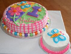 This is a 10 inch round cake made to match the Hugs and Stitches First Birthday Plates and Napkins. The cake is covered all in fondant. The ...