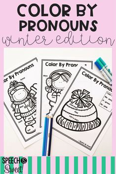 Winter Color By Pronouns is a fun packet for winter speech-language therapy! These are also great for grammar lessons in the primary classroom!