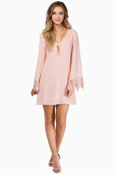 blush shift dress with crocheted  bohemian sleeves