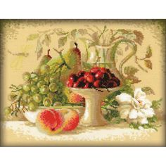"Sweet Cherries Still Life Counted Cross Stitch Kit - 12"" x 9.5"" 14 Count"
