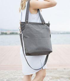 Grey canvas cross body laptop bag