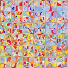 Summer Pastel Tiles. Modern Mosaic Tile Art Painting Painting