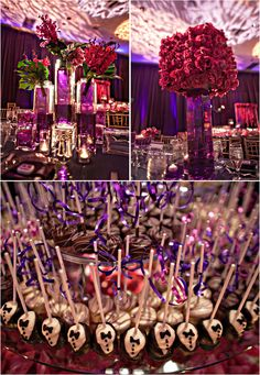 Fuchsia | Purple | Wedding Reception | Centerpieces |  Coordination and Design: Exquisite Events  Photograper: Joy Marie Photography
