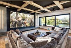 Salas Home Theater, Home Theater Decor, Home Theater Rooms, Home Theater Design, Dream Home Design, Modern House Design, Home Interior Design, Dream House Interior, Home Room Design