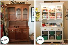 Sewing Crafts Turn an outdated hutch into a craft supply storage center - An idea to transform an antique hutch into a craft storage center for craft supplies with paint and a few other basic supplies. Sewing Room Organization, Craft Supply Storage, Diy Furniture, Office Crafts, Storage Center, Home Crafts, Home Decor, Space Crafts, Craft Room