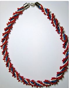 4th of July Necklace - Kumihimo 12 stand ridged spiral pattern uses Toho 6/0 beads