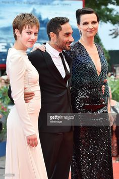 Lou de Laage, Piero Messina and Juliette Binoche attend a premiere for 'The Wait' during the 72nd Venice Film Festival at Palazzo del Casino on September 5, 2015 in Venice, Italy.
