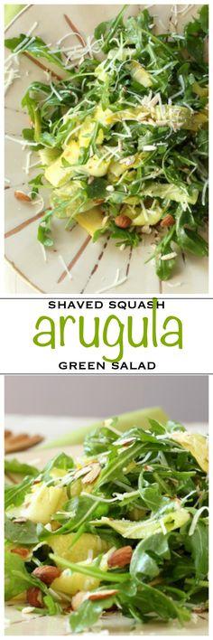 Fresh squash ribbons with arugula salad greens and Pecorino | Foodness Gracious