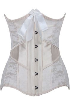 14 Steel Bones Lace Overlay Ivory Under Bust Corset