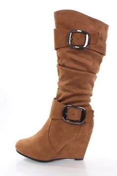 Tan Slouchy Buckled Wedge Boots