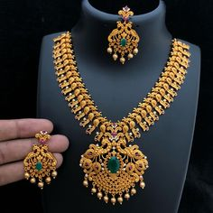 RA Matt Necklace for Rs 2350 with shipping Direct message to place order Shipping is extra the damage will… Gold Temple Jewellery, Gold Wedding Jewelry, Gold Jewellery Design, Bridal Jewelry, Fashion Jewellery, Silver Jewelry, Fashion Necklace, Gold Earrings Designs, Gold Diamond Earrings