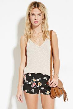Floral Flat-Front Shorts   Forever 21 - 2000168026