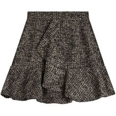 Philosophy di Lorenzo Serafini Tweed Skirt (210 AUD) ❤ liked on Polyvore featuring skirts, gonne, black, textured skirt, flouncy skirt, frilly skirt, ruffled skirts and frill skirt