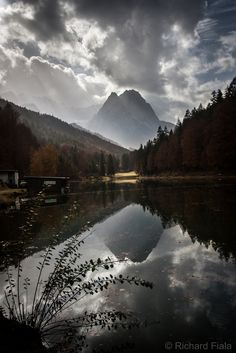Riessersee by Richard Fiala on 500px... #clouds #germanalps #mountains #reflection #water