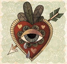 Don't cry for me Argentina, the truth is I never loved you Coeur Tattoo, Mexican Folk Art, Eye Art, Psychedelic Art, Heart Art, Traditional Tattoo, Illustrations, Collage Art, Art Inspo