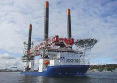 Hochtief Solutions' Vidar jack-up vessel on route to work on offshore wind farms and oil and gas plants in the North and Baltic seas. Built at the Crist shipyard in Poland, Vidar is the sister ship to Thor and Innovation.  With a large deck and cargo capacity, plus a 1200T crane, Vidar can speed up and therefore reduce the cost of installing the very latest-generation of larger offshore wind turbines in water depths up to 50m and in so doing (Courtesy Hochtief).