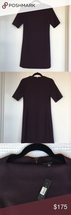Theory Harkin Dress This Theory Harkin dress is a perfect work dress. Polished and sophisticated. The sleeves hit at the elbow and the neckline is stunning on. A modern take on the everyday work dress. The color is called Jasper, it's a dark purple/Cabernet color. Brand new, never worn, with tags. Theory Dresses Mini