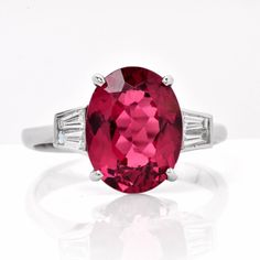 Pink Tourmaline Diamond Gold Three Stone Engagement Ring | From a unique collection of vintage three-stone rings at https://www.1stdibs.com/jewelry/rings/three-stone-rings/