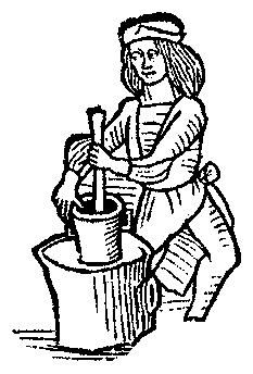 A Feast For The Eyes  41. Using a mortar and pestle. From Medieval Life Illustrations.