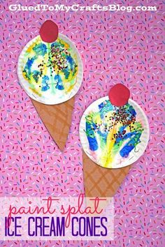 ◀Previous Post Next Post▶ Paint Splat Ice Cream Cones – Summer Themed Kid Craft Idea Summer Crafts For Toddlers, Summer Arts And Crafts, Summer Art Projects, Crafts For Kids To Make, Toddler Crafts, Summer Kids, Projects For Kids, Kids Crafts, Art For Kids