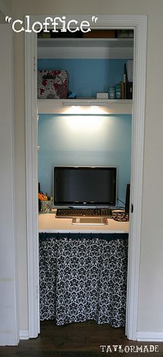 turn closet into an office/computer desk
