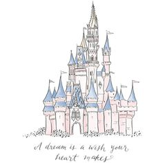 A Dream Is a Wish Your Heart Makes Cinderella's Castle Print Disney... (2.520 HUF) ❤ liked on Polyvore featuring home, children's room and children's decor