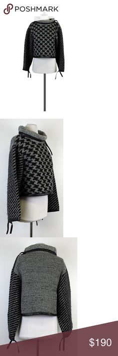 """Rag & Bone- Grey & Black Houndstooth Cape Sz XS Add some edge to your outfit with this grey & black houndstooth print cape with leather trim. With its oversized collar & sleeves, you'll definitely stand out. Complete the look with black skinny jeans & boots. Size XS Self 85% wool 12% cotton 3% nylon Trim 100% lamb leather Ties at end of leather trim Slips on Cropped fit Linted fabric Shoulder to hem 18"""" Rag & Bone creates clothing that represents the history and authenticity of classic…"""