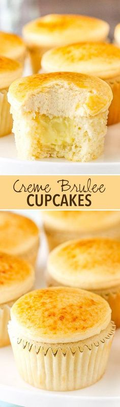 Creme Brulee Cupcakes! Moist vanilla cupcakes with pastry cream filling topped with caramel frosting and caramelized sugar!