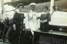 "Grand Duchesses Tatiana and Olga Nikolaevna Romanova of Russia with Captain Nikolai Pavlovich Sablin on board the Imperial Royal yacht,the Standart. ""AL"""