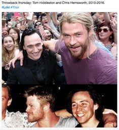 Throwback Thursday: Tom Hiddleston and Chris Hemsworth, Loki and Thor ❤❤❤👍😍🤗😁 Loki Laufeyson, Loki Thor, Marvel Actors, Marvel Memes, Marvel Avengers, Tom Hiddleston Loki, Asgard, Z Cam, Throwback Thursday