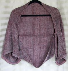 handwoven shrug 25 x 60 ~ only two rectangles..measure and sew according to your arms length and then hem!  Texture in the fabric gives it a gorgeus look!