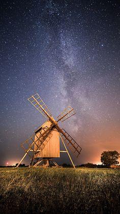 Night Wide Pinwheel Starry Skyscape Grassland #iPhone #6 #plus #wallpaper