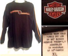 Harley Davidson Men's XL - Black Orange Jim's FL Long Sleeve Cotton Biker Shirt #HarleyDavidson #Crew